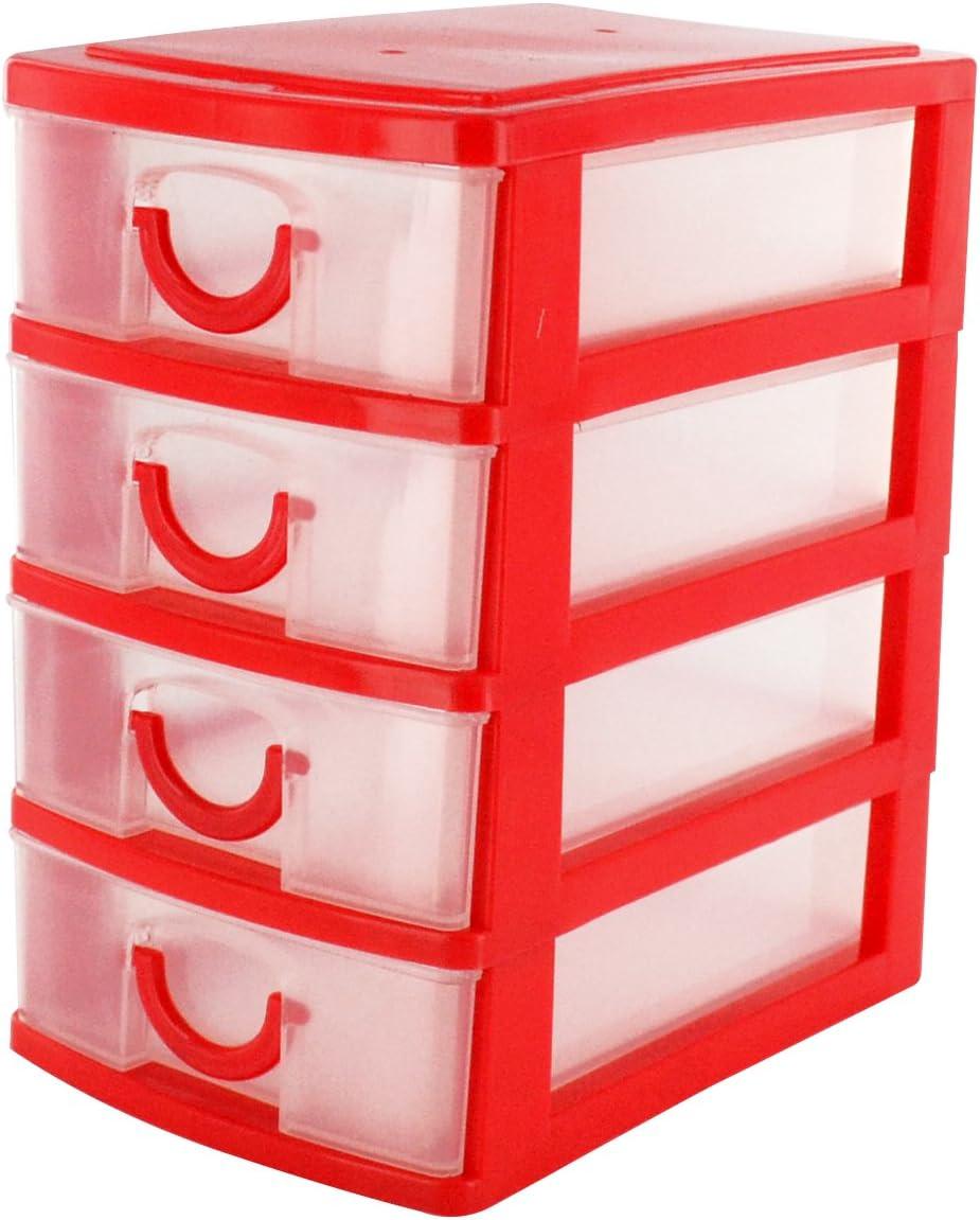 per ufficio Shopmonk Mini organizer rosso a 4/cassetti da scrivania in plastica