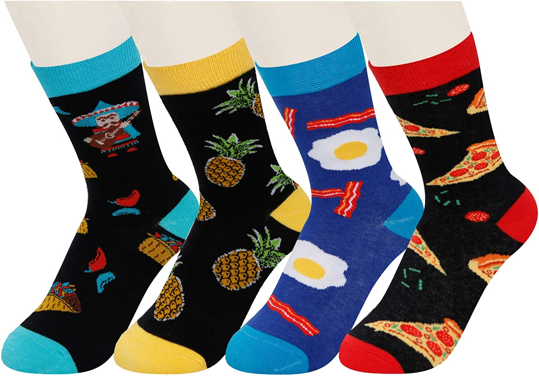 HAPPYPOP Boys Crew Socks Crazy Funny Space Food Animal Sports Socks for Kids Gift Box
