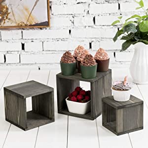 MyGift Vintage Gray Solid Wood Decorative Nesting Retail Display Riser Box Cube Stands for Merchandise, Set of 3
