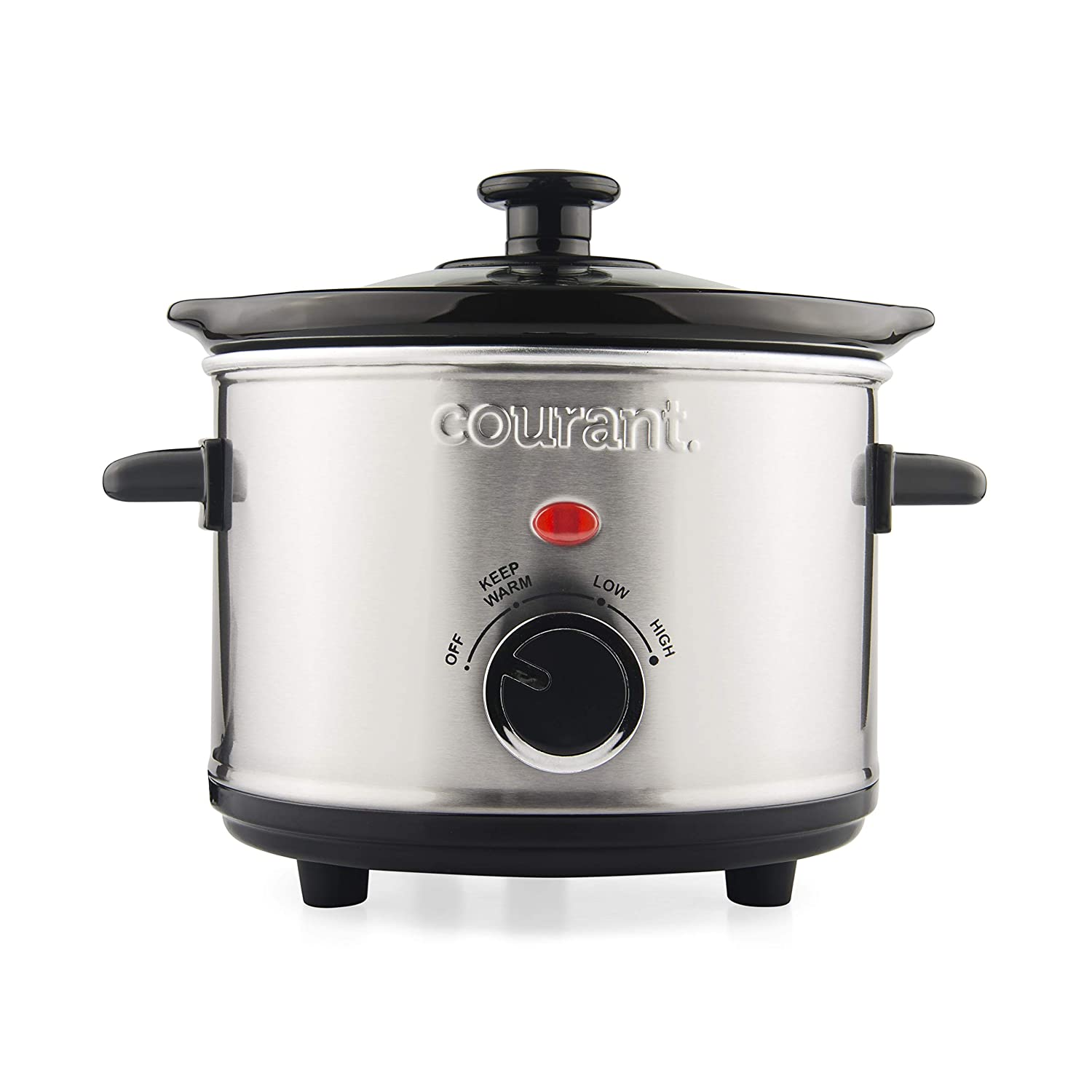 Courant Mini Slow Cooker Crock with Easy Options 15 Quart Dishwasher Safe Pot Stainless Steel