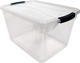 product image for Rubbermaid Cleverstore Clear 30 QT Pack of 6 Stackable Plastic Storage Containers with Durable Latching Clear Lids