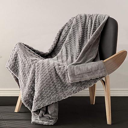 Amazoncom Bedsure Faux Fur Reversible Fleece Throw Blanket Super