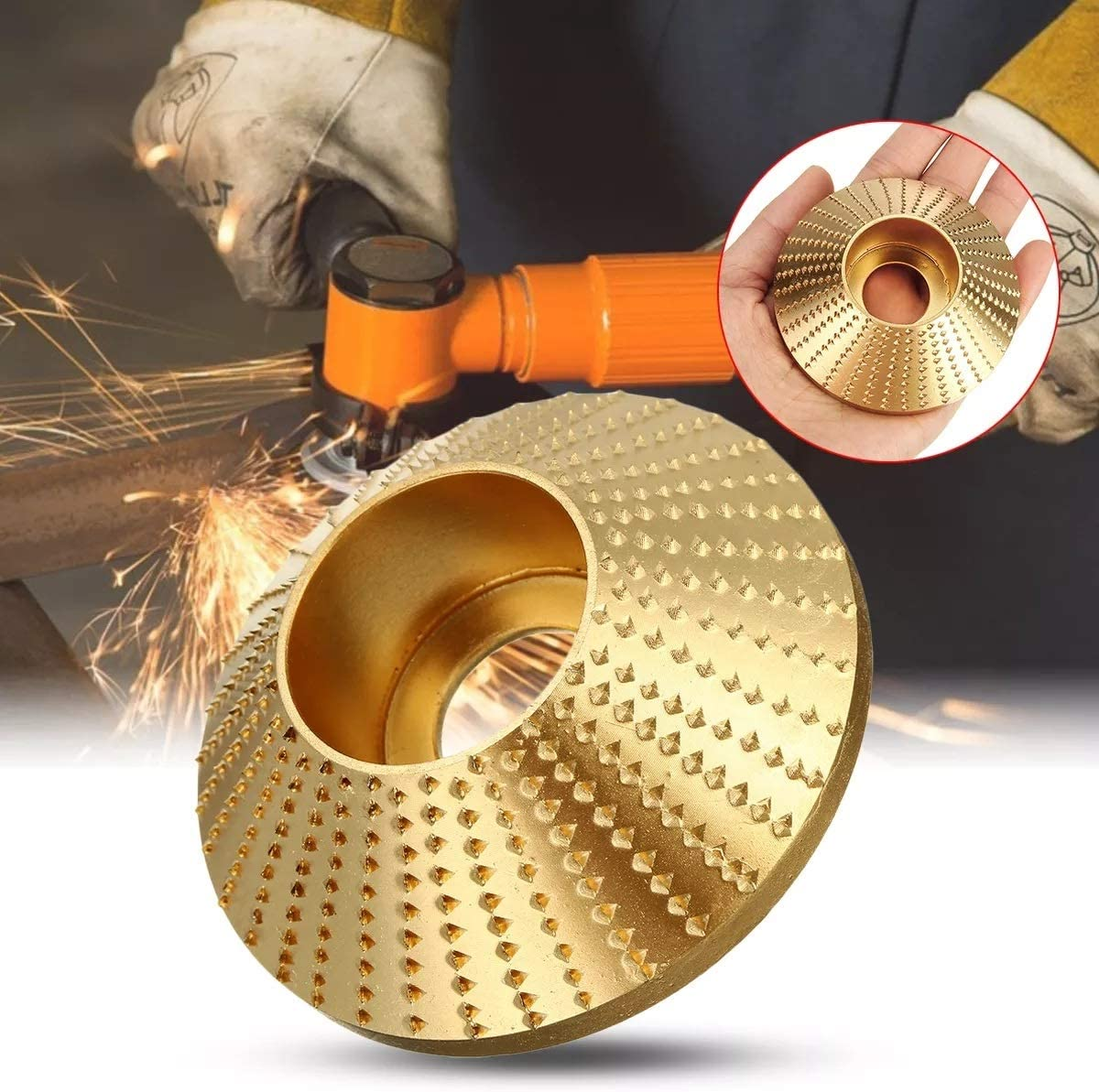 Ctghgyiki 45 Degree Wood Grinding Wheel ID16mm Sanding Carving Disc for Angle Grinder 75x16mm Woodworking Tools