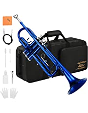 Eastar Standard Bb Blue Trumpet Set for Student Beginner with Hard Case, Gloves, 7 C Mouthpiece, Valve Oil and Trumpet Cleaning Kit, ETR-380BU (Blue)