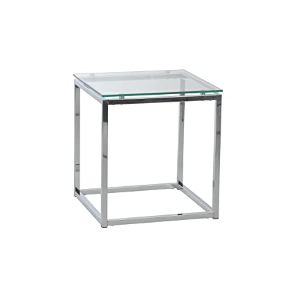 Superb Euro Style Sandor Clear Glass Top Side Table, Chromed Steel Base