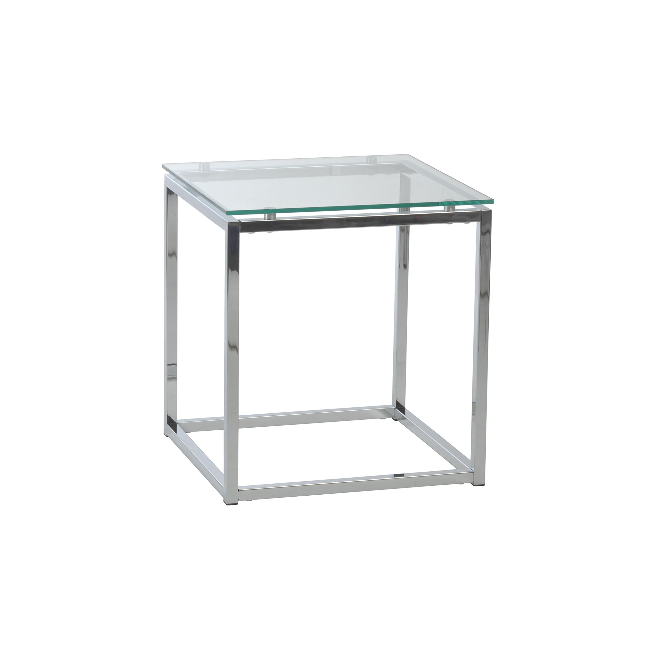Euro Style Sandor Clear Glass Top  Side Table, Chromed Steel Base