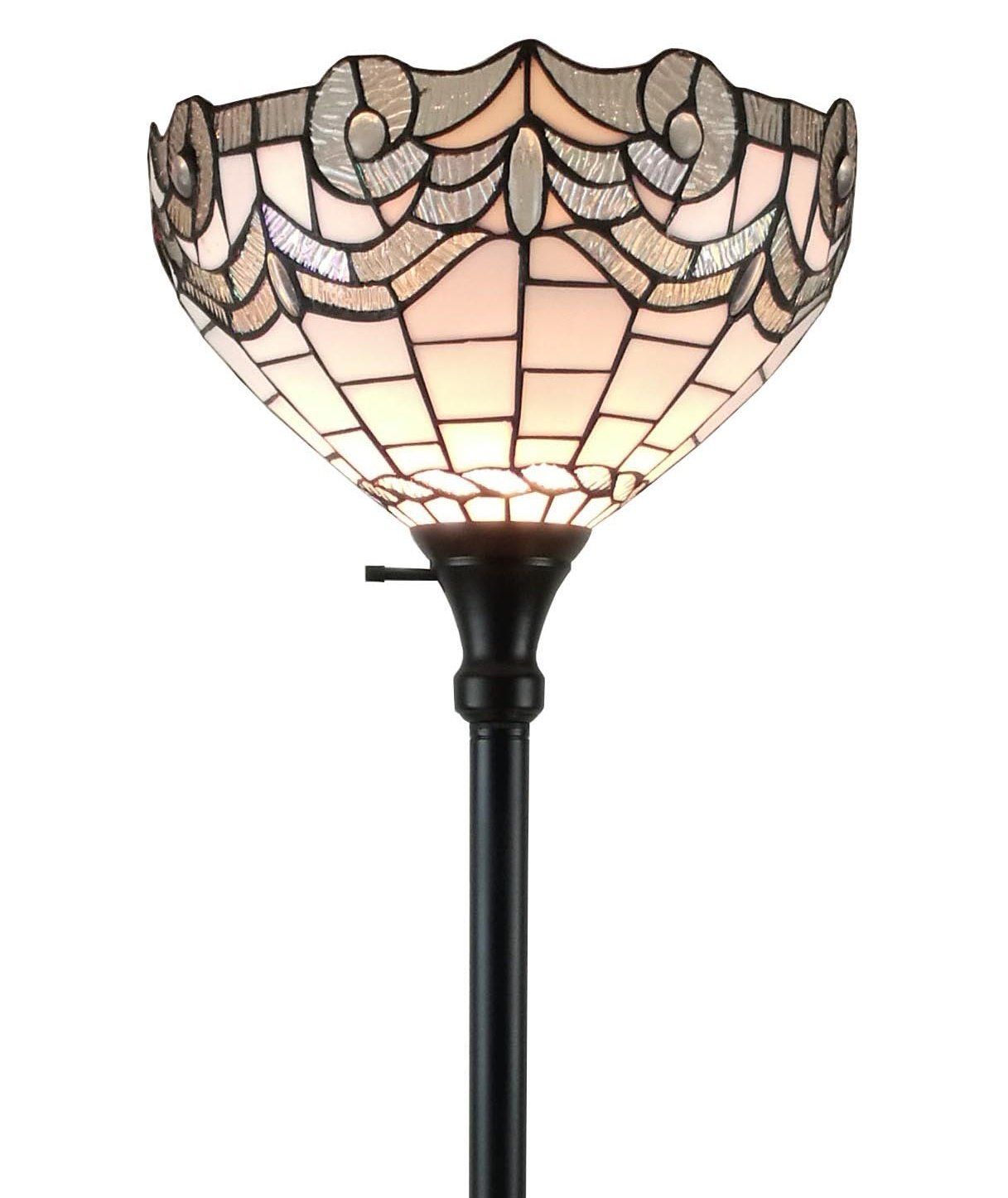 Amora Lighting AM265FL14 White Tiffany-style Torchiere Floor Lamp, 72 Inches Tall