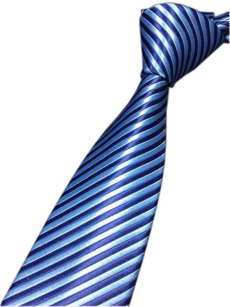 Men's Repp Victoria Blue Silk Tie Fine Striped Jacquard Woven Working Neckties