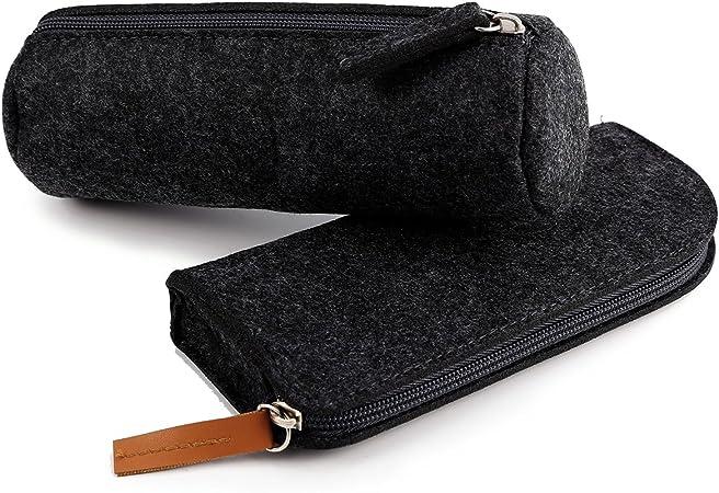 Anladia - Estuche de Fieltro Gris Oscuro para Lápices, Estuche de Papelería, Bolsa de cosméticos, 2 Unidades: Amazon.es: Hogar
