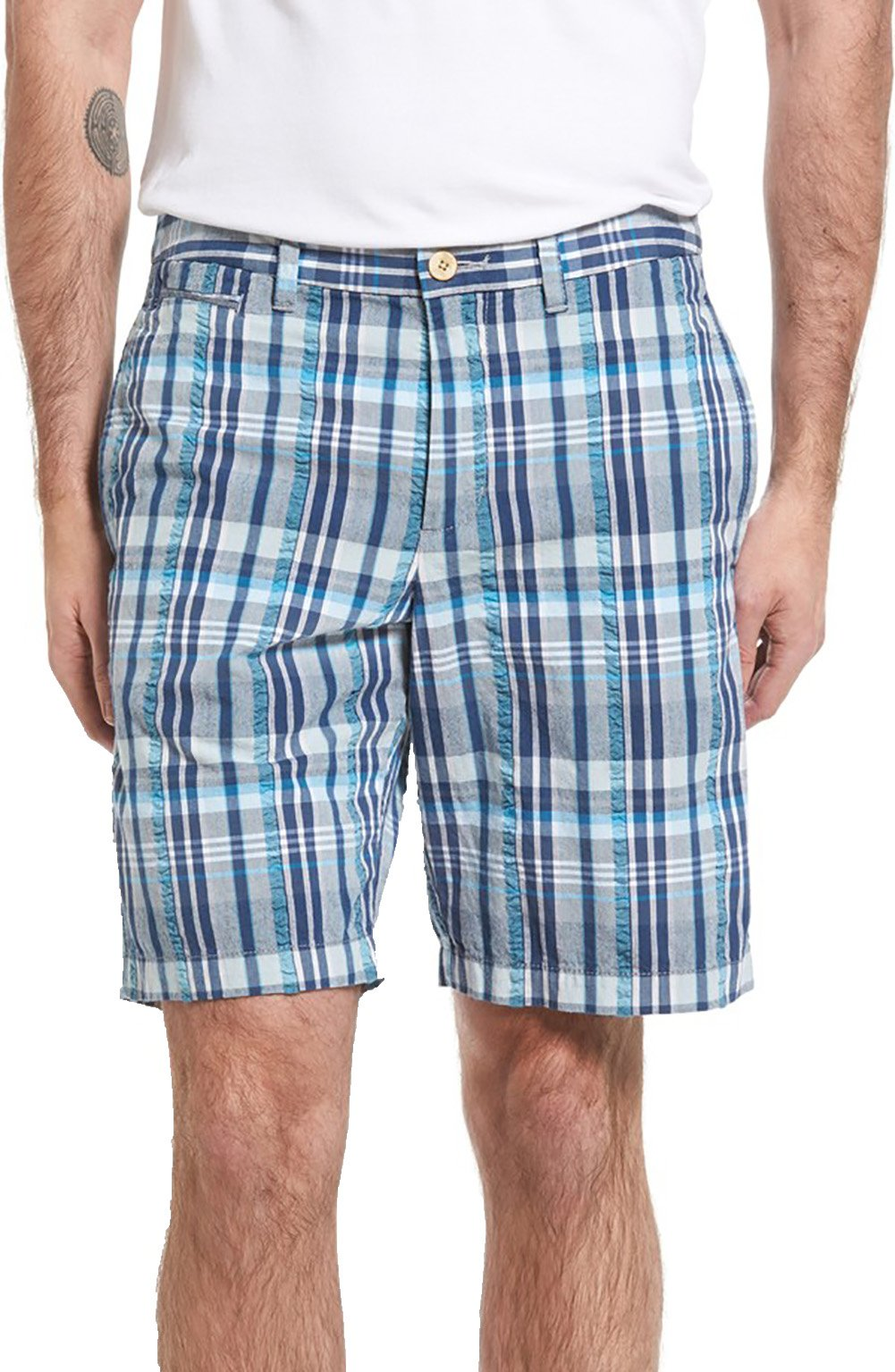 Tommy Bahama Men's Big & Tall Madras Seersucker Shorts (44 x R, Chambray) by Tommy Bahama (Image #1)