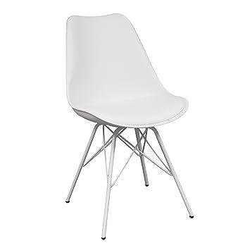 Silla de cocina o comedor ANDY Hard, patas de metal y asiento polipropileno (Blanco)