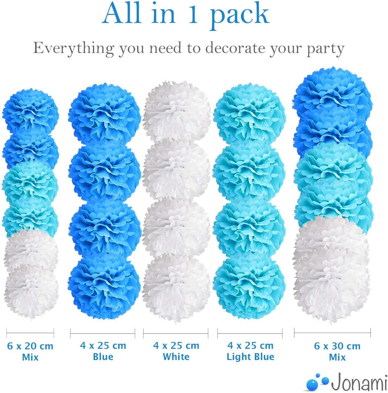 24 Pcs Jonami Birthday Decorations Boy 24 Blue Pom Poms Paper Flower Pompom Balls for Baby Shower Party