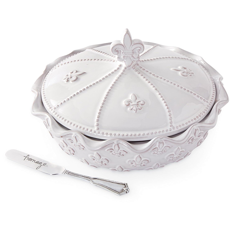 Mud Pie Fleur De Lis Brie Baker Set, White 4804006