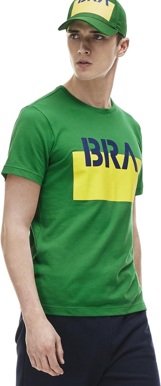 Lacoste Mens Sport World Supporter T-Shirt Chlorophyl//Ocean-Wasp Medium