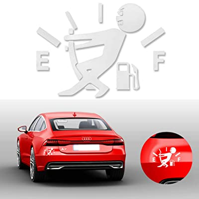 Goodream 1 Pcs Funny Car Stickers, Pull Fuel Tank Pointer to Full, Reflective Vinyl Car Decal Sticker, Car Styling Decoration Accessories (White): Automotive