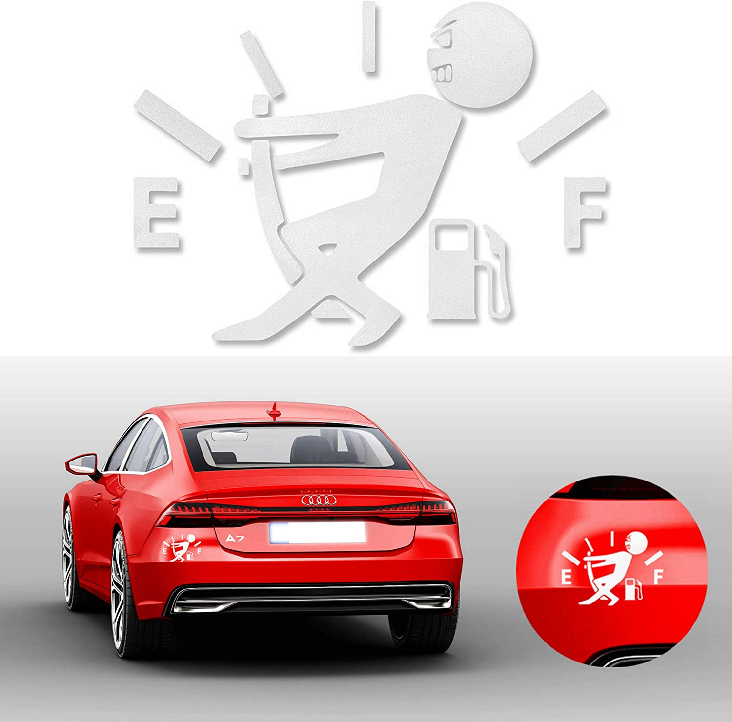 White Grebest Car Sticker External Decoration Car Sticker 2Pcs Funny Fuel Gauge Car Body Stickers Reflective Waterproof Decals Decoration