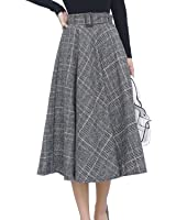 Sanifer Women's Warm Woolen Plaid Gray Pleated A Line Skirt with Belt