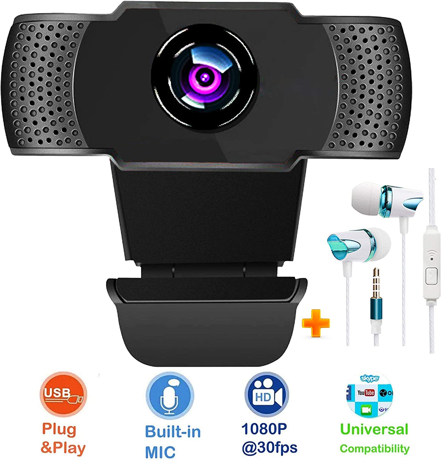 Webcam with Microphone and Headphone for Live Streaming Gaming Distance Meeting Video Record. USB Web Camera with Extra 3.5mm Earphones Compatible with Mac Laptop Desktop PC TV Monitor Ps4