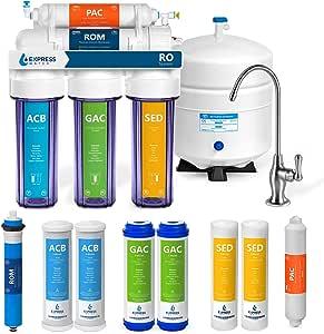 Express Water Sistema de filtración de agua de ósmosis 5 Etapa Ro purificador de agua con el grifo y el tanque bajo el fregadero filtro de agua Plus 4 Filtros de repuesto