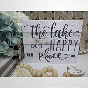 DONL9BAUER Lake Rustic Wood Sign, The Lake is Our Happy Place, Wall Art Hanging, Lake House Decor, Lake Lover Present, Housewarming Present, Home Decor