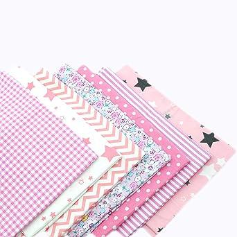 Fabric 100/% Cotton 7 Fat Quarters Bundle Light Purple Spring