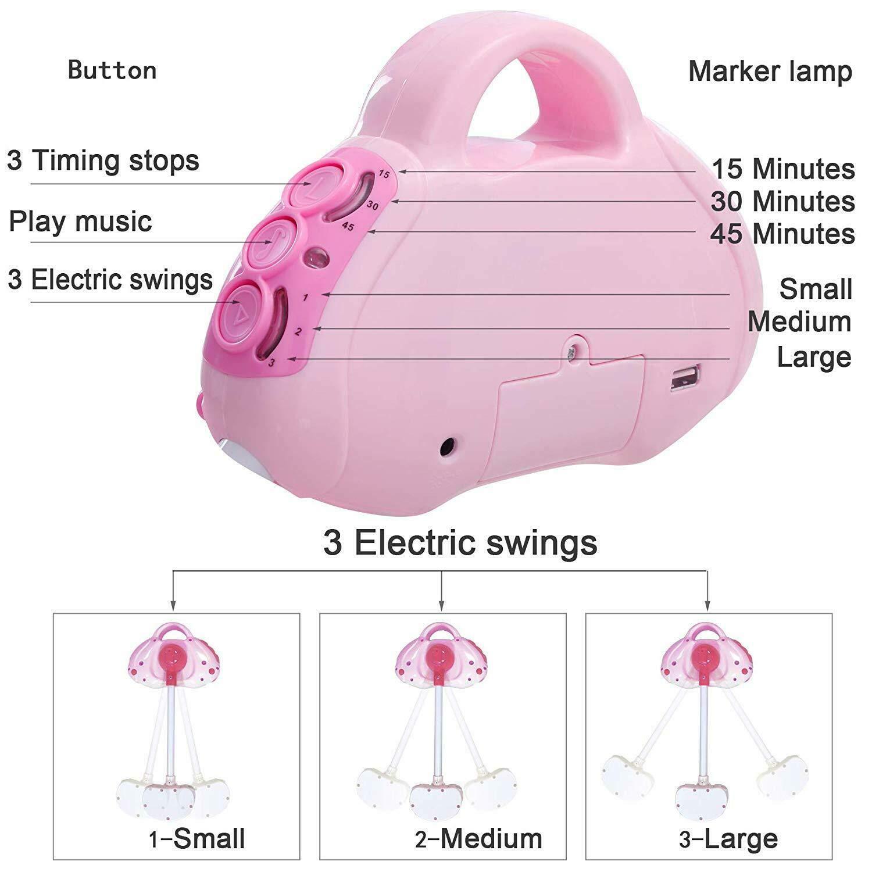 Babyschaukel Babywiege +Moskitonetz Automatisch Babyliege mit 12-Musik Baby Wippe Bett bis zu 25KG +1 Fernbedienung 1 Kissen 1 Moskitonetze einlegen Rosa 1 Matte