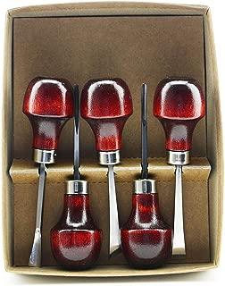 product image for U J Ramelson No. 107 Basic Beginners Wood Carving Tools set of 5. Gouge, V & U, Skew & Bent Chisel. USA