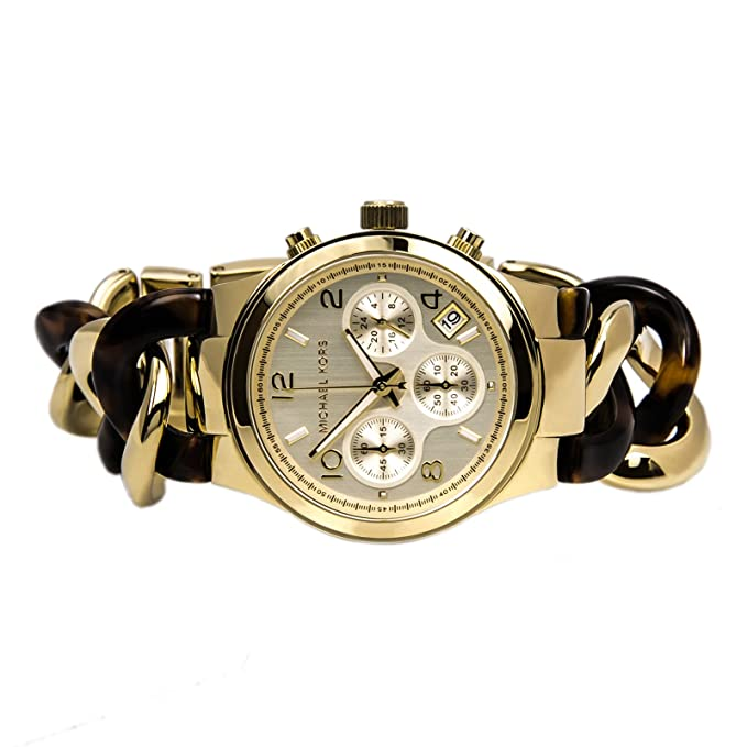 f03eff1aea94 Amazon.com  Michael Kors Chain Link Acrylic Gold-tone Ladies Watch MK4222  Michael  Kors  Watches