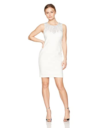 8c26cfa2bf22e Calvin Klein Women s Petite Sleeveless Dress with Embellishment at Amazon Women s  Clothing store