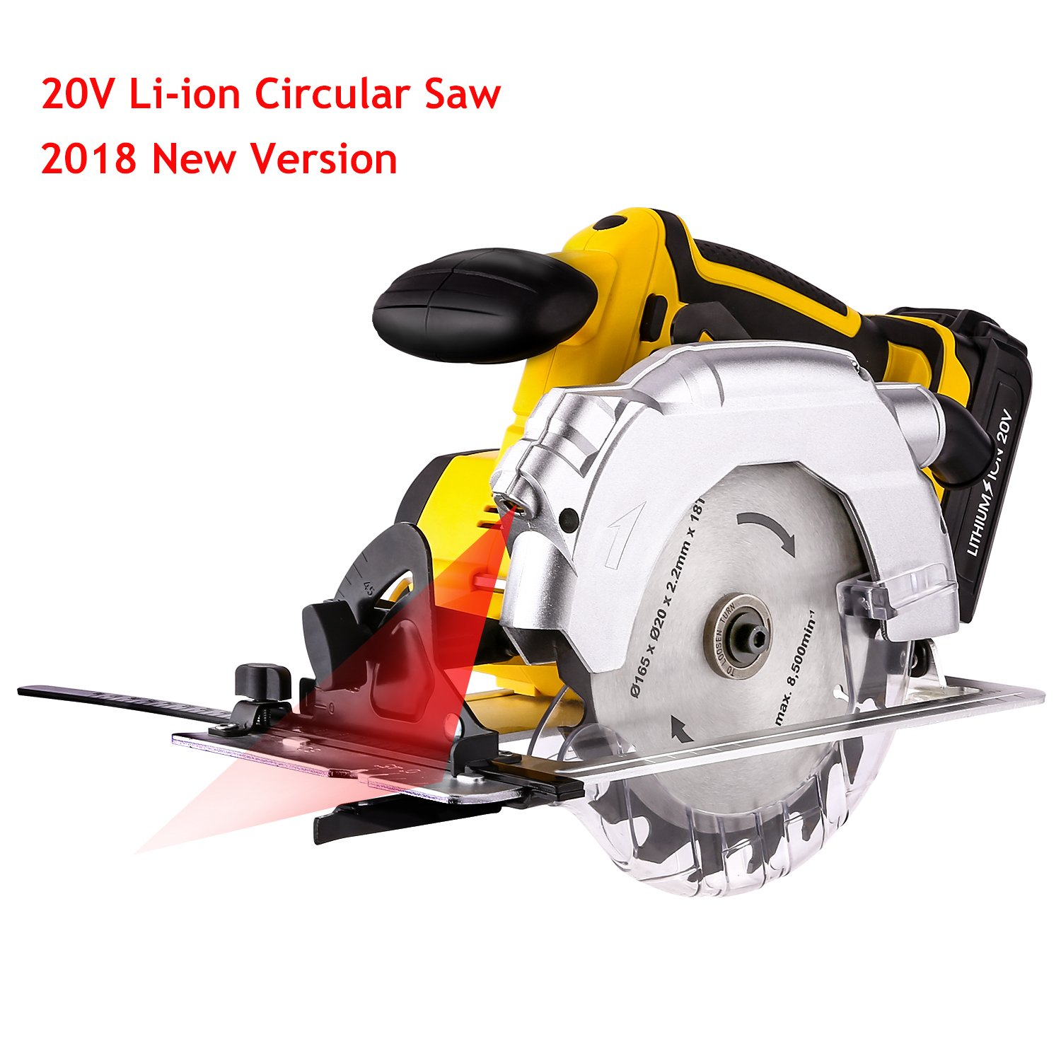 Voluker 20V Portable Circular Saw, Cordless, 7000 RPM 6-1/2'' Saw Blade with Lightweight Safety Guard, Laser Guide and Guide Ruler, Li-ion Battery and Charger Adapter Included