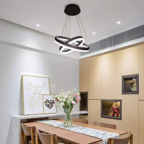 Jaycomey Modern LED Pendant Light,Circular Acrylic Chandelier Adjustable Two Rings Ceiling Pendant Light