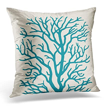 Amazon.com  VaryHome Throw Pillow Cover Tan Reef Coral Tree in Teal ... f67fce3fee93