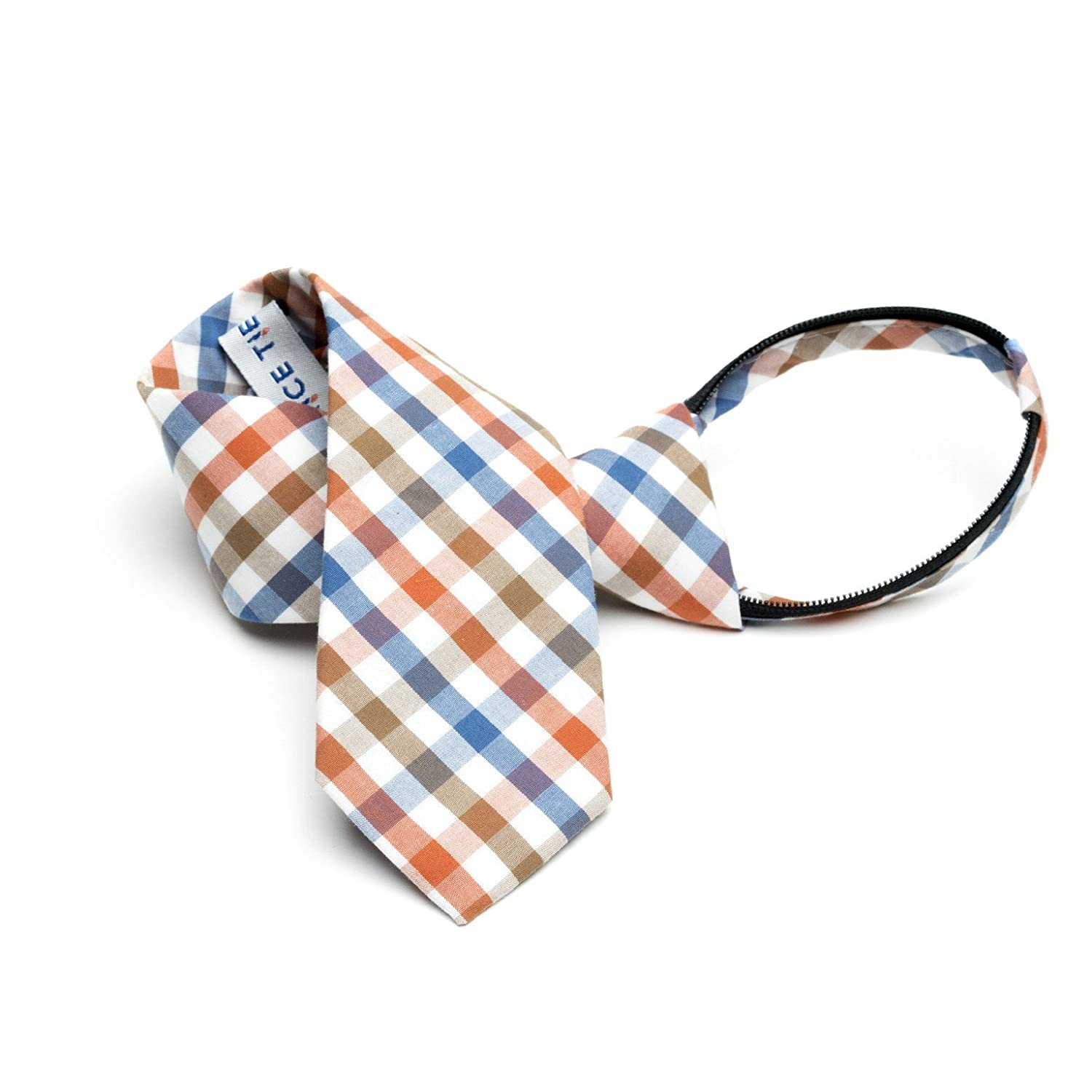 Picnic - Orange, Blue, Brown, White Gingham Kids Zipper Tie PicnicKidsZipper