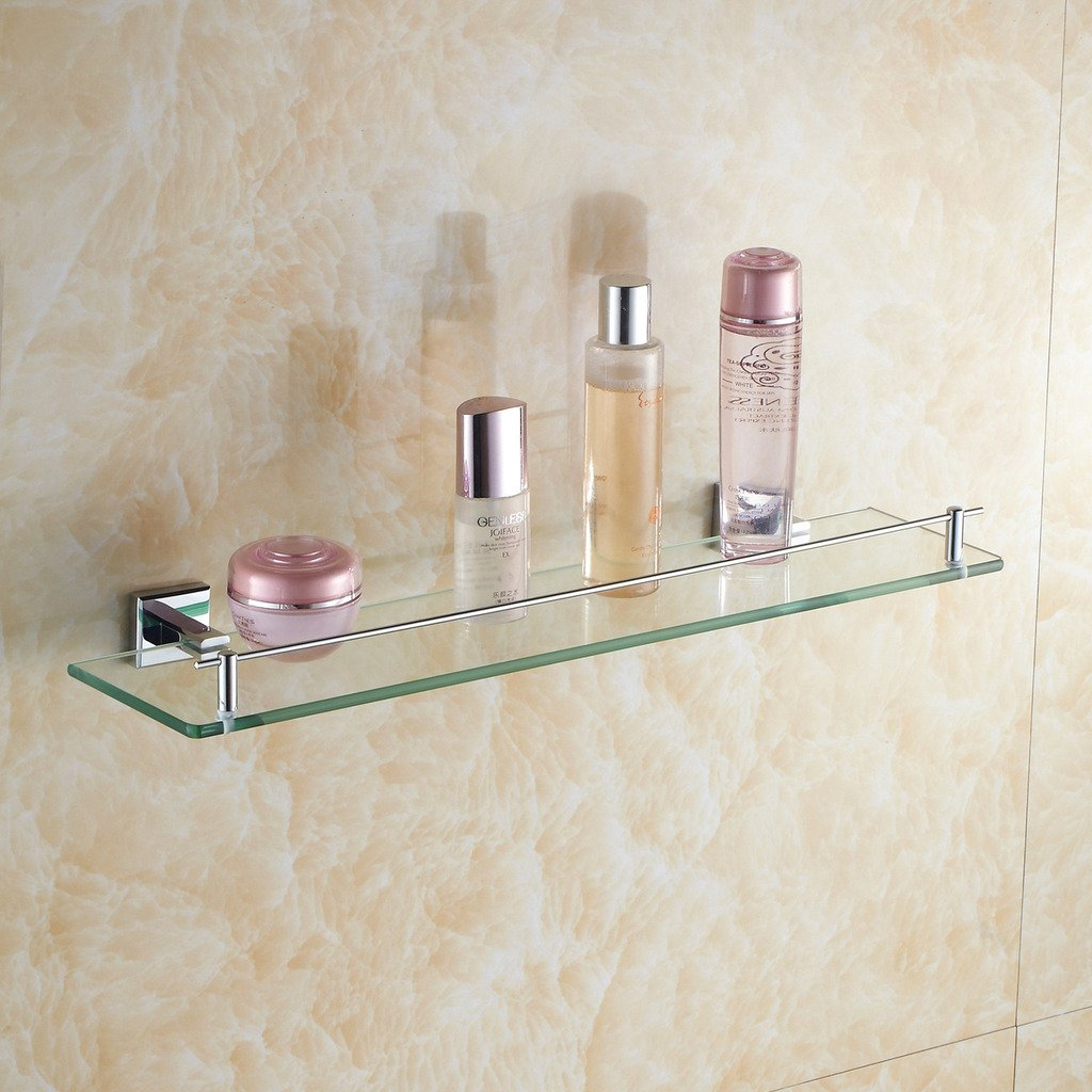Leyden Wall Mount Solid Brass Material Bathroom Glass Shelf Lavatory Accessories Tools and Improvement Shampoo Basket Bars
