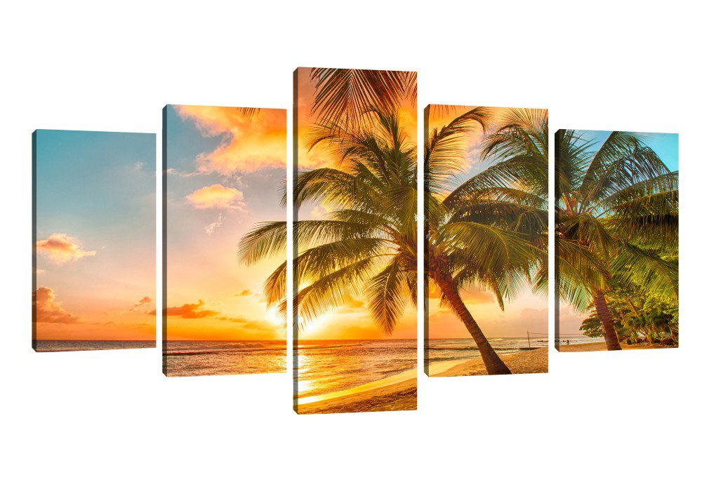 Framed 5 Panels Canvas Art Prints Beautiful Sunrise in Tropical Beach Landscape Canvas Painting Wall Art Decoration for Bedroom, Living Room or Office (60''W x 32''H, Framed) by ZUGFEXY