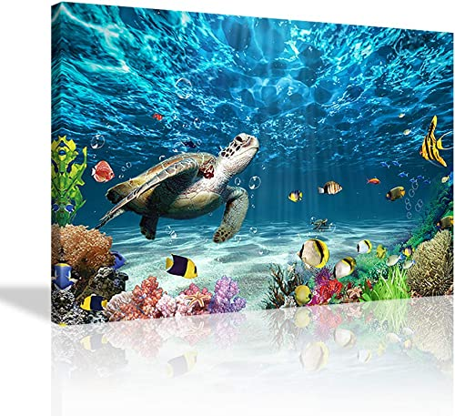 KALAWA Sea Turtle Canvas Beach Coastal Bathroom Wall Art Decor Sea Turtle Picture Framed Artwork Ready to Hang Mediterranean Style Turtle Pictures Ocean Decor