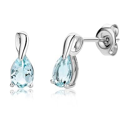 Miore Ladies 9ct White Gold Pear shape Aquamarine Earrings MG9234E VwUrEqGY