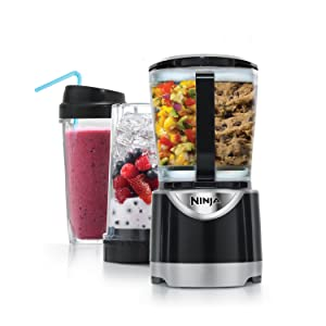 Ninja 16oz Personal Blender, 48oz Countertop Blender, and 40oz Food Processor with 550-Watt Base with Slicing /Shredding/Grating Attachments (BL201)