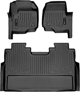 MAXLINER Floor Mats 2 Row Liner Set Black for 2017-2021 Super Duty Crew Cab with Vinyl Flooring and 2nd Row Bench Seat