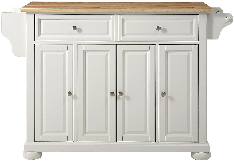 Crosley Furniture Alexandria Kitchen Island with Natural Wood Top - White