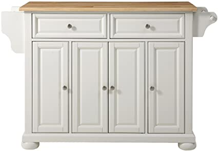 Merveilleux Crosley Furniture Alexandria Kitchen Island With Natural Wood Top   White