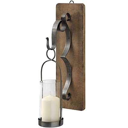 best service efe1b ca104 Interior Flair Wall Hanging Wood Pewter Grey Metal Candle Holder Sconce  Hurricane Lantern
