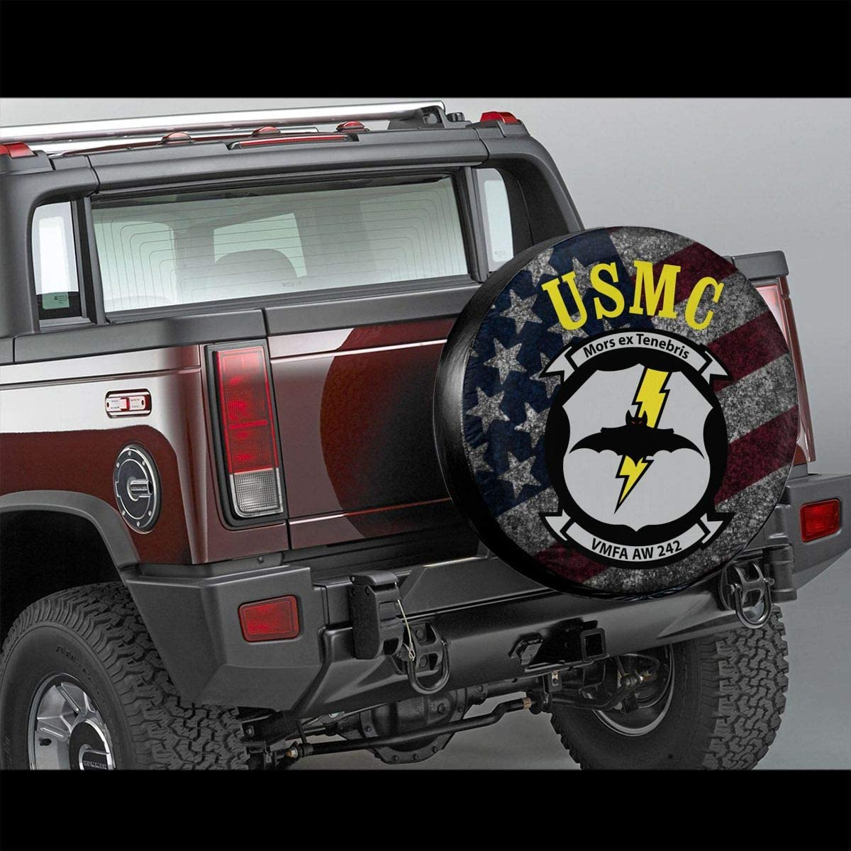 Kon KK Accessories USMC VMFA AW -242 Spare Tire Cover Waterproof Dust-Proof Universal Wheel Tire Covers Fit for Jeep Trailer RV SUV