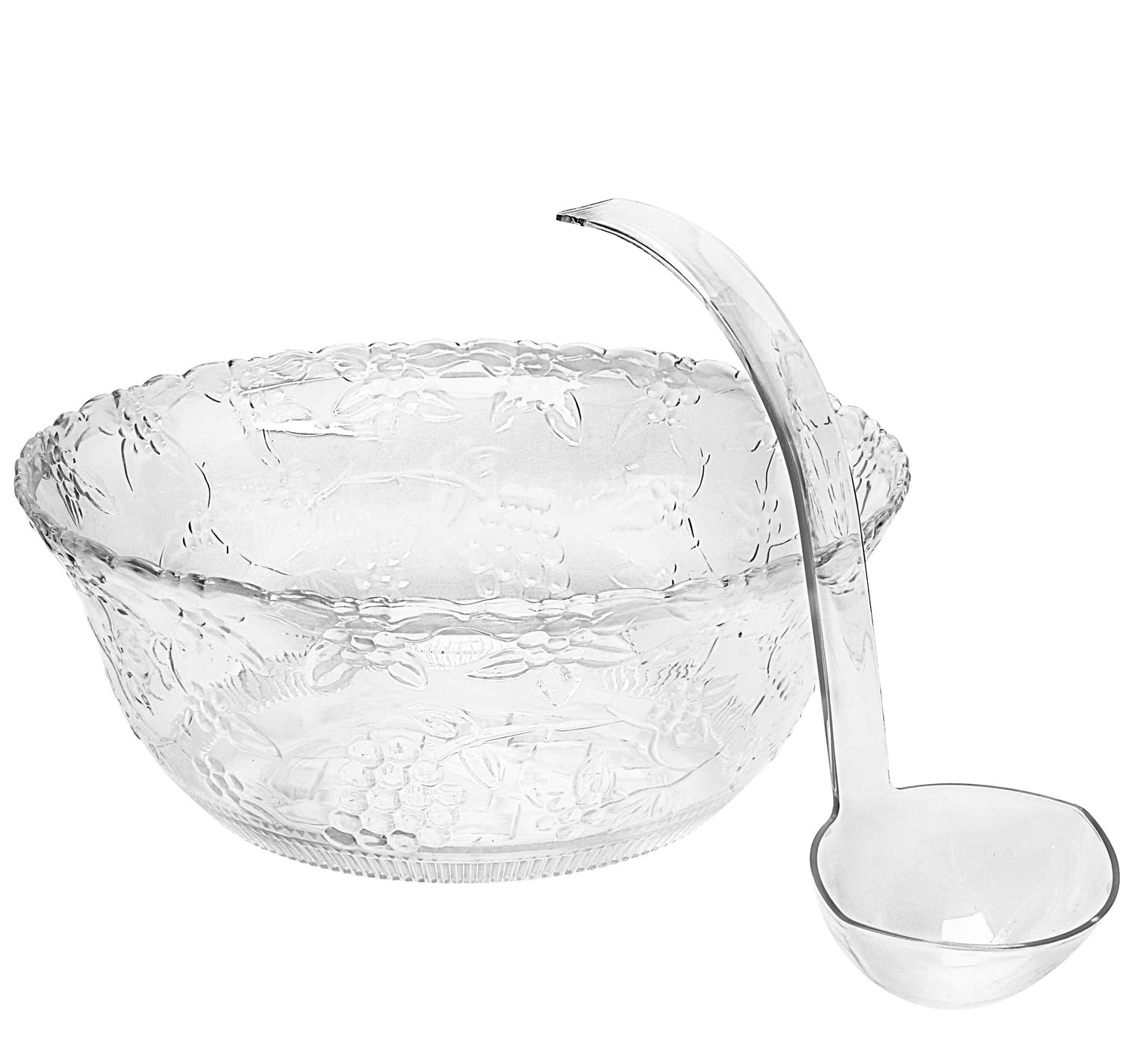 Heavyweight Clear Plastic 2 Gallon Punch Bowl With 5 OZ Plastic Serving Ladle, Embroidered Design 8 Quart Serving Bowl.