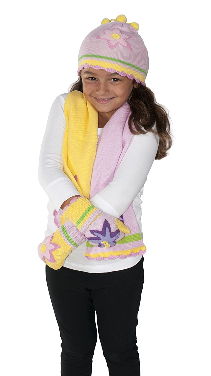 Kidorable Pink and Yellow Lotus Flower Soft Acrylic Knit Hat//Scarf//Mitten Set for Girls