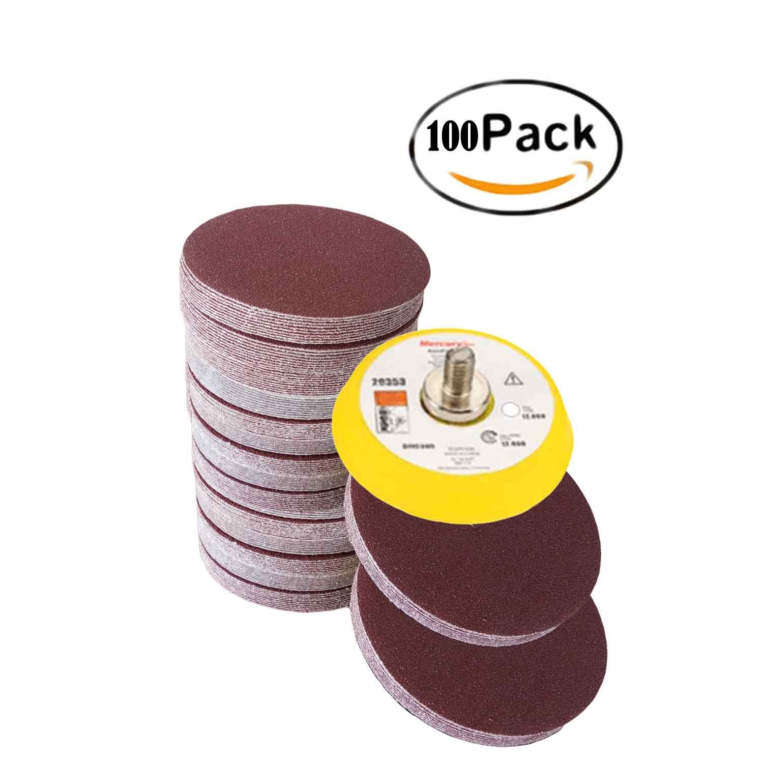 Fadetech 100 Pieces 2 Inch Sanding Discs 80/100/120/180/240/320/400/800/1200/2000 Grit Sandpaper Assortment for Drill Grinder