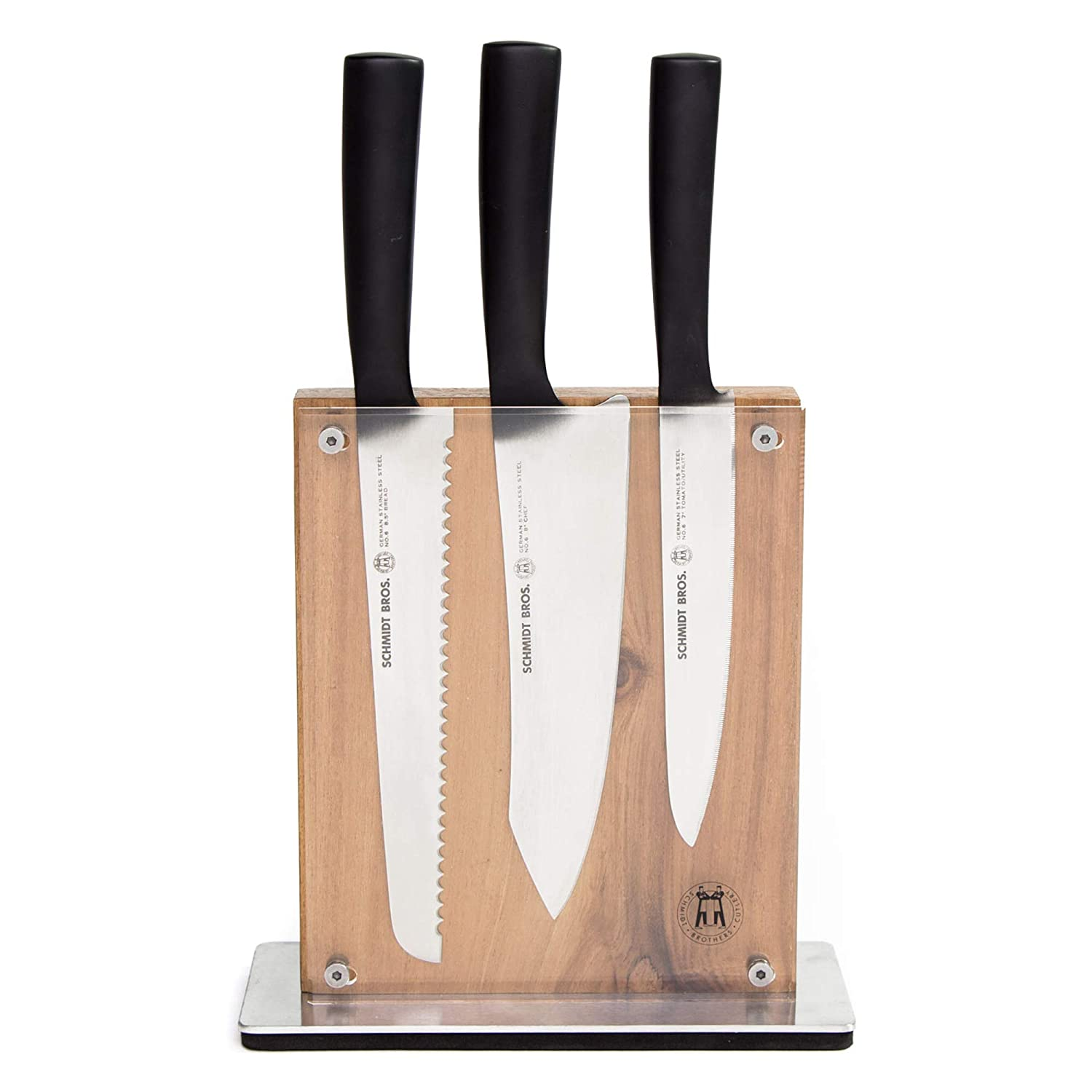 Schmidt Brothers - Carbon 6, 7-Piece Knife Set, High-Carbon Stainless Steel Cutlery with Midtown Acacia and Acrylic Magnetic Knife Block