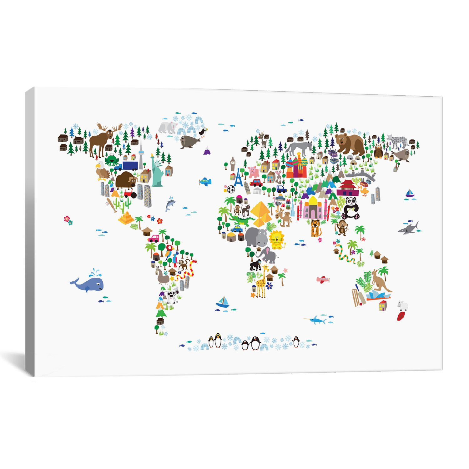 iCanvasART Animal Map of The World by Michael Thompsett Canvas Art Print, 40 by 26-Inch