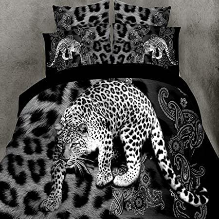 Piumone Matrimoniale Leopardato.3d Leopardato Copripiumino Piumone Matrimoniale Lenzuola 4pcs