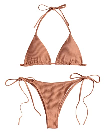 c90a6e1c327 GAMISS Women s Halter String Thong Bikini Tie Side Triangle Bikini Set 2  Piece Swimsuit Brown